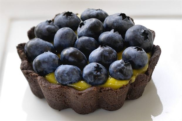 Chocolate Tarts with Lemon Curd and Berries